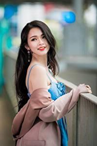 Фото Азиатка Боке Позирует Брюнетка Миленькие Волосы Девушки
