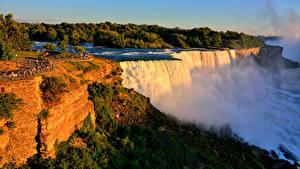 Фотографии Штаты Водопады Нью-Йорк Скала Niagara Falls Природа