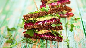 Картинка Быстрое питание Сэндвич Хлеб Доски Пища