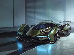 Обои Lamborghini Зеленые Lambo V12 Vision 2019 Concept