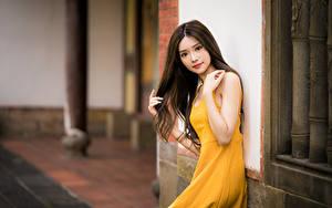 Обои для рабочего стола Азиаты Боке Платье Рука Шатенки Смотрит девушка