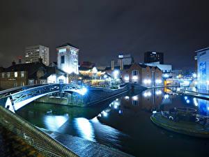 Картинка Англия Дома Река Мосты Ночные Уличные фонари Birmingham город