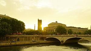 Картинки Рассветы и закаты Франция Дома Речка Мосты Париж river Seine Города