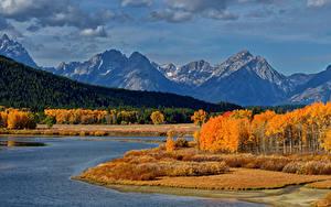 Фото Осенние Штаты Парки Горы Леса Озеро Пейзаж Grand Teton National Park Природа