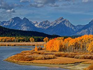 Фото Осенние Штаты Парк Горы Лес Озеро Пейзаж Grand Teton National Park Природа