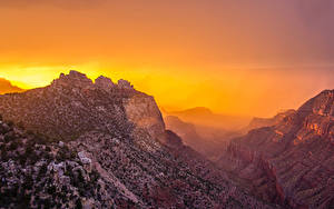 Фото Гранд-Каньон парк Штаты Парки Горы Рассветы и закаты Каньон Природа