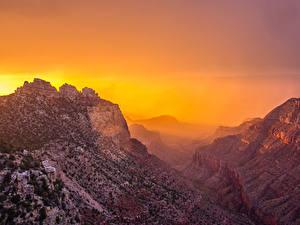 Фото Гранд-Каньон парк Штаты Парк Гора Рассветы и закаты Каньон