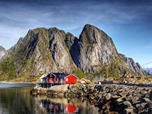 Фотографии Норвегия Лофотенские острова Побережье Здания Скала Заливы