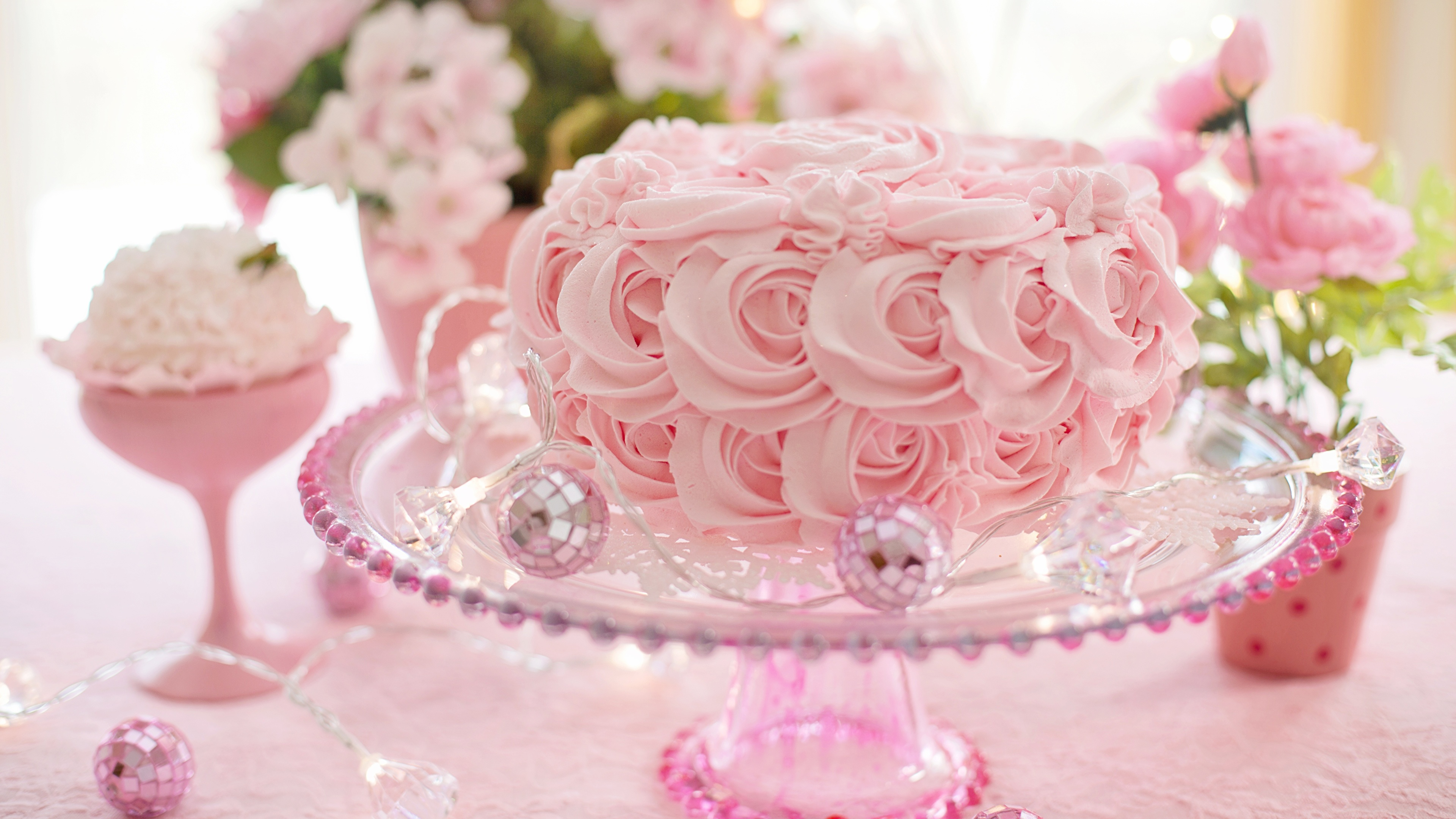 Картинки Торты Розовый Продукты питания Дизайн 3840x2160 Еда Пища