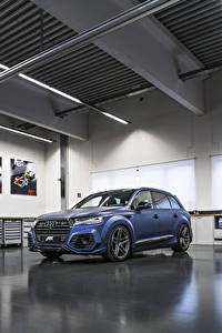 Картинки Audi Синяя 2017-18 SQ7 ABT Vossen Автомобили