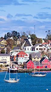Фотография Канада Здания Пристань Парусные Яхта Lunenburg harbor Nova Scotia город