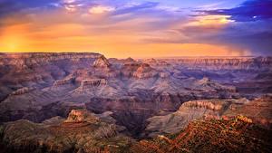 Картинка США Гранд-Каньон парк Парк Рассветы и закаты Каньон