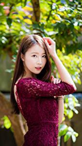 Фотография Азиатка Размытый фон Поза Платье Руки Шатенки Смотрят молодые женщины