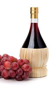 Картинки Вино Виноград Белый фон Бутылка Еда