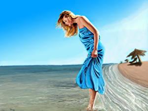 Картинка Рисованные Берег Воде Блондинка Платье молодая женщина