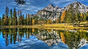Фото Гора Пейзаж Италия Озеро Отражении Dolomites Lake Antorno Природа
