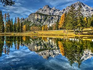 Фото Горы Пейзаж Италия Озеро Отражении Dolomites Lake Antorno Природа