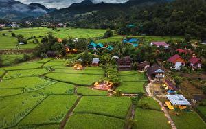 Картинка Таиланд Здания Поля Деревня Mae La Noi