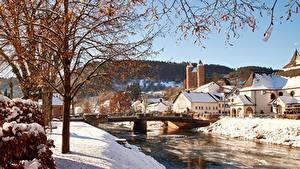 Фото Германия Мосты Речка Здания Зимние Деревья Ветвь Снег commune of Murlenbach, State Of Rhineland-Palatinate Города