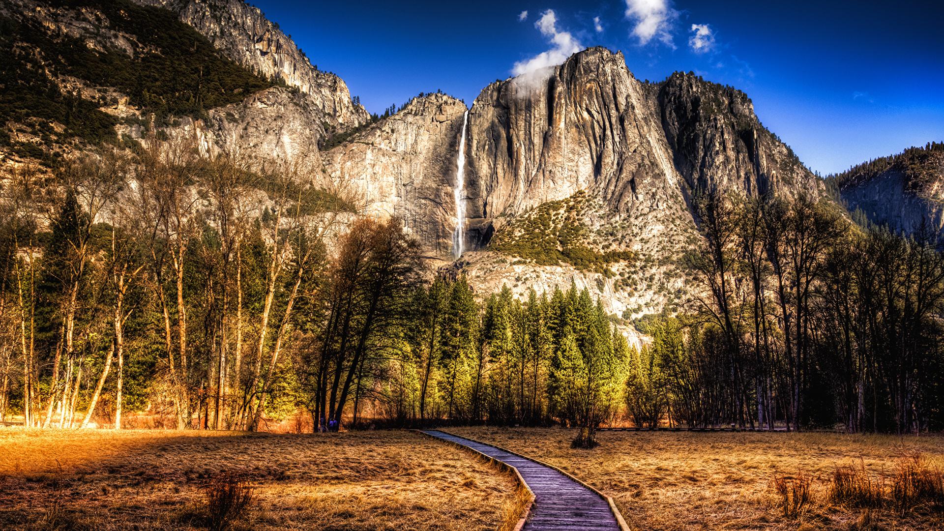 Фотографии Йосемити Калифорния штаты HDRI Горы Осень Природа Парки Пейзаж дерево 1920x1080 калифорнии США HDR осенние дерева Деревья деревьев