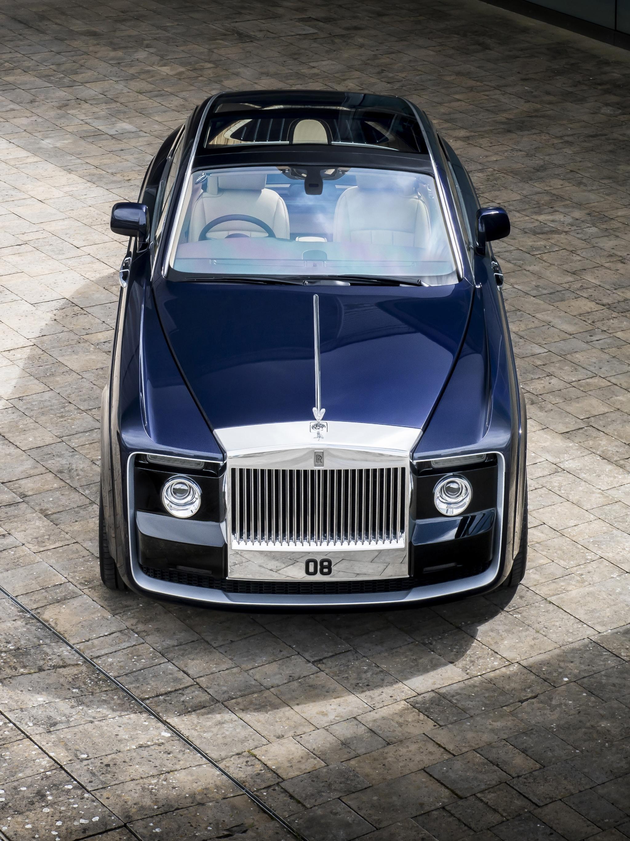 Фото Rolls-Royce 2017 Sweptail Синий Сверху Металлик Автомобили 2048x2732 Роллс ройс Авто Машины