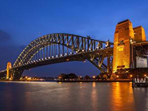 Картинка Австралия Реки Мосты Вечер Сидней Уличные фонари город