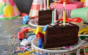 Фотография Торты День рождения Свечи Шоколад Часть Пища