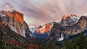 Фотографии США Парк Гора Леса Пейзаж Йосемити