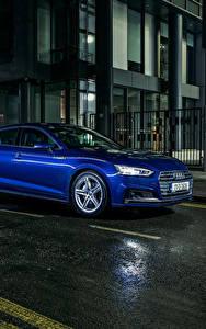 Фотографии Ауди Синий Металлик Улица Ночные 2017 Audi A5 Sportback 2.0 TDI quattro S line Авто