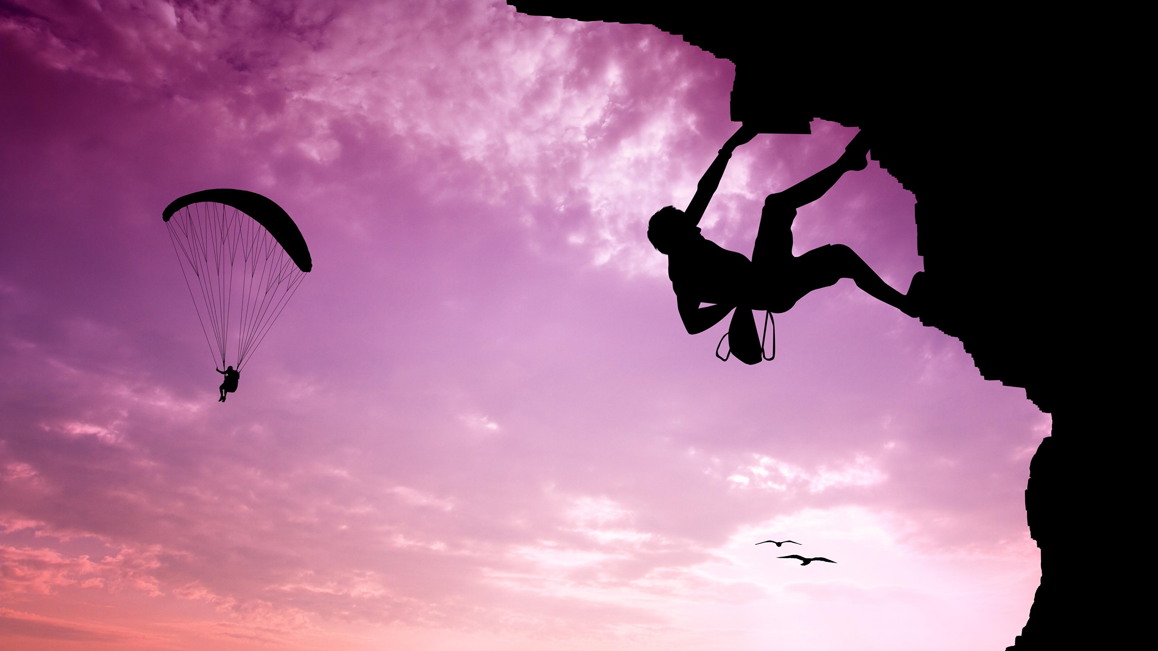 Картинки альпинисты силуэта Спорт Альпинизм Парашютизм скайдайвинг Небо 3840x2160 Альпинист Силуэт силуэты спортивный спортивная спортивные