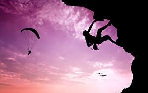 Картинки Альпинизм Небо Парашютизм скайдайвинг Силуэта Альпинисты Спорт
