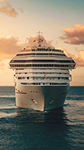 Фотография Море Корабли Круизный лайнер Рассветы и закаты Небо