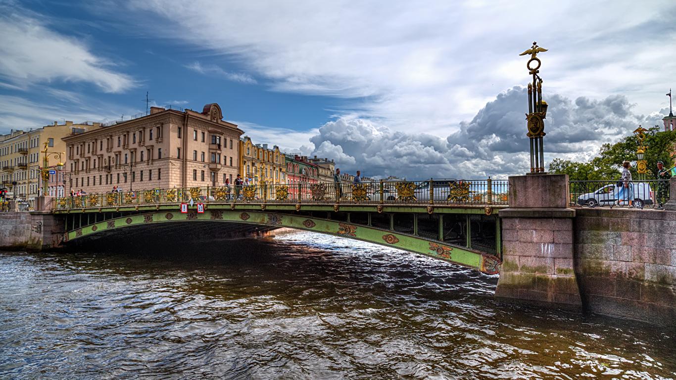 Фото Санкт-Петербург Россия Fontanka River Мосты речка Дома Города 1366x768 Реки Здания