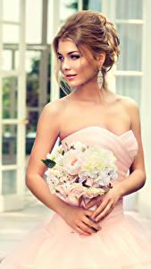 Картинки Букеты Шатенка Невесты