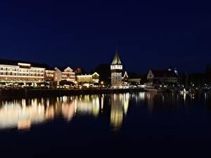 Обои Здания Пирсы Озеро Германия Ночные Башни Bodensee, Lindau