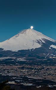 Фотография Горы Фудзияма Япония Вулкан Луна