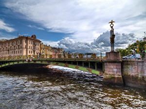 Фото Россия Санкт-Петербург Дома Реки Мосты Fontanka River Города