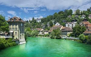 Картинка Берн Швейцария Реки Дома Деревья Aare river
