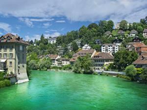 Картинка Берн Швейцария Река Дома Деревья Aare river Города