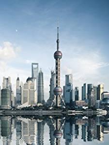 Обои для рабочего стола Небоскребы Здания Китай Шанхай Башни Города