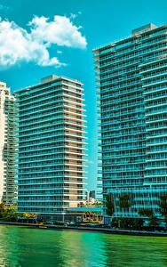 Картинки США Дома Майами Флорида Улице Залива Города
