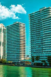 Картинки США Дома Майами Флорида Улица Залив Города