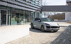Фотографии Porsche Серая Купе Гибридный автомобиль Металлик 2019-20 Cayenne E-Hybrid Coupé SportDesign Package Worldwide машина