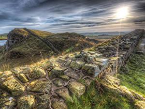 Фотографии Великобритания Рассветы и закаты Камень Холмы HDR Hadrians Wall