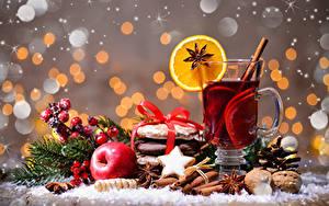 Фото Рождество Чай Бадьян звезда аниса Печенье Корица Яблоки Орехи Стакан Чашка Пища