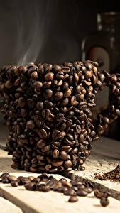 Фото Напитки Кофе Оригинальные Доски Чашка Зерна Пар Дизайн Пища