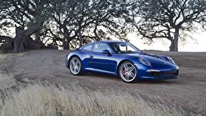 Обои Порше Синих Металлик 2011 911 Carrera S автомобиль
