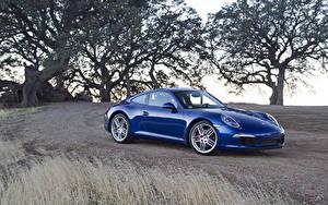Обои Порше Синий Металлик 2011 911 Carrera S Машины