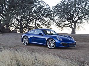 Обои Порше Синих Металлик 2011 911 Carrera S Машины