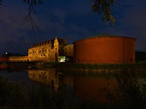 Фотографии Швеция Замки Речка Мост Ночью Malmo Города